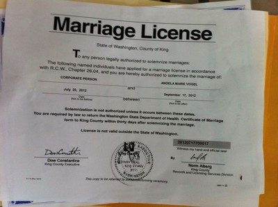 City Offers Marriage License To Corporation